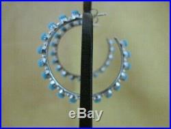 Alvin Hughte Zuni Sleeping Beauty Turquoise Petit Point Sterling Hoop Earrings