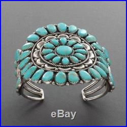 Amazing Vintage ZUNI Sleeping Beauty Sterling Silver Cuff Bracelet 1960's Size7