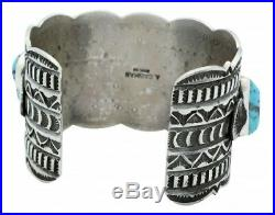 Andy Cadman, Row Bracelet, Sleeping Beauty Turquoise, Silver, Navajo Made, 7 in