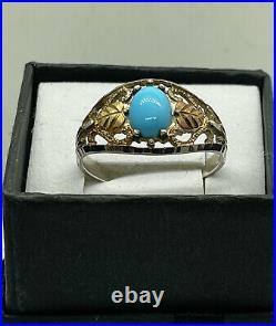 Antique 10k Black Hills Gold Sleeping Beauty Turquoise Ring Size 9.5 EUC