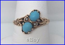 Antique 10k Rose Gold Sleeping Beauty Turquoise Ladies Solitaire Ring Size 4
