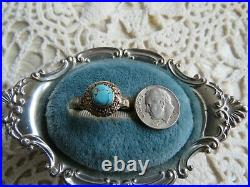Antique 10k Yellow Gold Sleeping Beauty Turquoise Bezel Set Solitary Ring 7.25