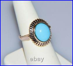 Antique 14k Gold Egyptian Revival Sleeping Beauty Turquoise Ring Band Size 6.75