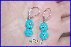 Antique 14k W Ss Carved Flower Sleeping Beauty Turquoise Lever Back Earrings
