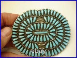 Antique Dead Pawn Zuni Petit Point Belt Buckle Sleeping Beauty Turquoise Large