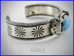 Antique Navajo Natural Sleeping Beauty Turquoise Silver Cuff Bracelet ca. 1900/30