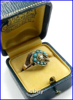 Antique Victorian 10k gold & small pearl sleeping beauty turquoise ring size 7.5