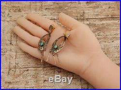 Antique Vintage Sterling Silver Native Navajo Sleeping Beauty Turquoise Earrings