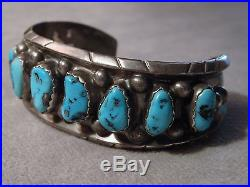 Antique ZUNI M. Lasiloo SLEEPING BEAUTY TURQUOISE STERLING Silver CUFF 51G 6.75