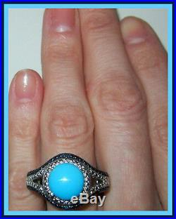 Arizona SLEEPING BEAUTY TURQUOISE / BLUE DIAMOND STERLING SILVER 925 RING sz 9