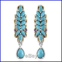 Arizona Sleeping Beauty Turquoise Amethyst 925 Sterling Silver Earrings 2.96 ct