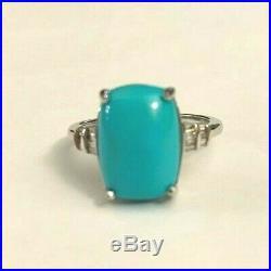 Arizona Sleeping Beauty Turquoise & Diamond Ring in 18K White Gold 6.52 ctw sz10