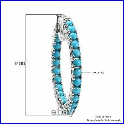 Arizona Sleeping Beauty Turquoise Hoop Earrings Over Sterling Silver 9.39 Grams