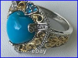 Arizona Sleeping Beauty Turquoise, Neon Apatite, Topaz Ring. 925, Size 8, NWOT