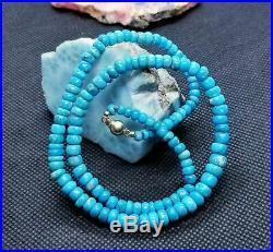 Arizona Sleeping Beauty Turquoise Rondelle Beads 14k Gold Rare Natural Untreated