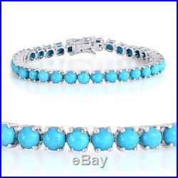 Arizona Sleeping Beauty Turquoise (Round) 925 Sterling Silver Bracelet