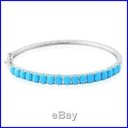 Arizona Sleeping Beauty Turquoise Sterling Silver Bangle (7.25 in) TGW 4.91 cts