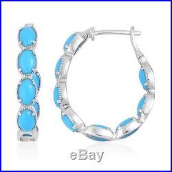 Arizona Sleeping Beauty Turquoise Sterling Silver Inside Out Hoop Earrings TGW 4