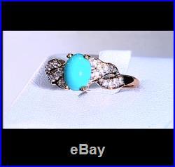 Arizona Sleeping Beauty Turquoise & White Zircon 10K Yellow Gold Ring Size N-O/7