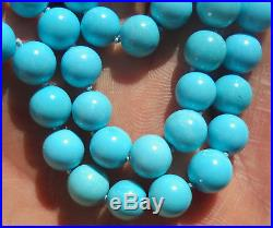 Arizona (Sleeping Beauty) Turquoise bead (7,5 mm) necklace with 18K gold clasp