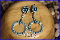 Ashley Navajo Cluster Earrings, Sleeping Beauty, Sterling Signed