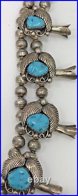 Authentic SQUASH BLOSSOM Necklace with Sleeping Beauty Turquoise, Good Patina