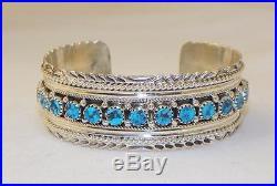 Beautifulnavajosterling Silversleeping Beauty Turquoiseline Bracelet