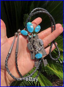BIG 4 3/8 Vtg Navajo Sleeping Beauty Turquoise Kachina Sterling Silver Bolo Tie