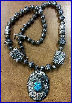 BJSTAMPS Vintage Tommy Singer Sterling Necklace Sleeping Beauty Turquoise
