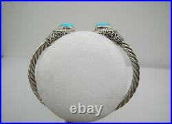 Bali Legacy Arizona Sleeping Beauty Turquoise Cuff Hinged Bracelet 925 SS 7.5