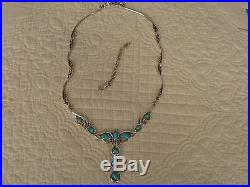Beautiful Carolyn Pollack Sleeping Beauty Turquoise Statement Necklace