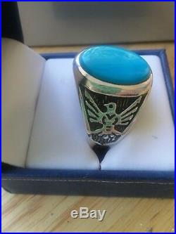 Beautiful Men's, Sleeping Beauty Turquoise Sterling Silver ring
