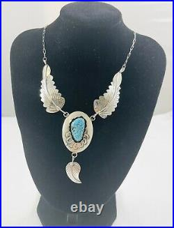 Beautiful Navajo Sterling Silver Sleeping Beauty Turq Shadowbox Leaf Necklace