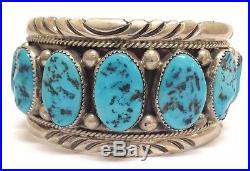 Beautiful Navajo Sterling Silver Sleeping Beauty Turquoise Bracelet Signed GA