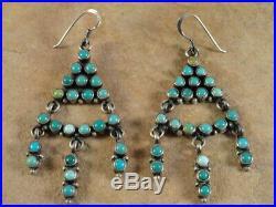 Beautiful Navajo Sterling Silver & Sleeping Beauty Turquoise Earrings