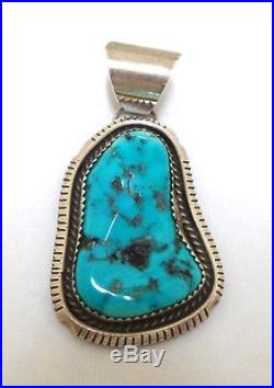 Beautiful Navajo Sterling Silver Sleeping Beauty Turquoise Pendant Signed AL