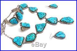 Beautiful Navajo Sterling Silver Sleeping Beauty Turquoise Set Gilbert Tom