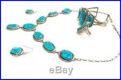 Beautiful Navajo Sterling Silver Sleeping Beauty Turquoise Set W J Johnson