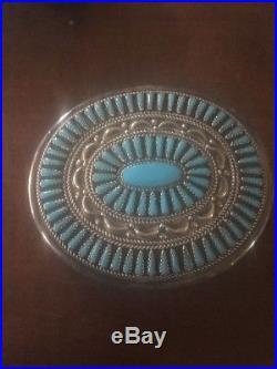 Beautiful Navajo Zuni Sleeping Beauty Turquoise Sterling Silver Belt Buckle