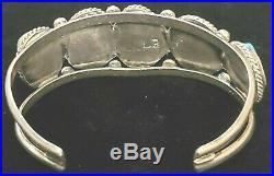 Beautiful! Signed Vtg Navajo Sleeping Beauty Turquoise Sterling Silver Bracelet