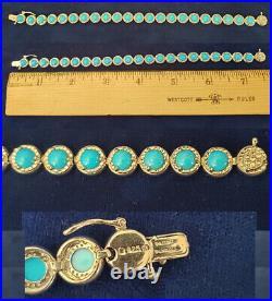 Beautiful Sleeping Beauty Turquoise 925 Sterling Silver Tennis Bracelet br127