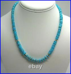 Beautiful Sleeping Beauty Turquoise Arizona Turquoise 14K Yellow Gold Necklace