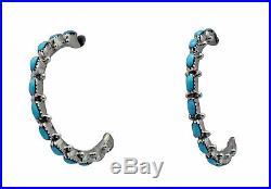 Benard Cachini, Earrings, Sleeping Beauty Turquoise, Hoops, Zuni Handmade, 1.25
