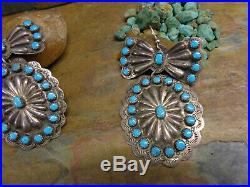 Best! Navajo Sterling Sleeping Beauty Turquoise Concho Earrings Native Old Pawn