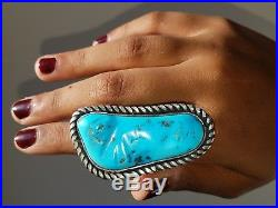 Big Heavy Sterling Silver Ring with Natural Sleeping Beauty Turquoise size 11