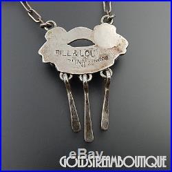 Bill & Lou Laweka Zuni Sterling Silver Sleeping Beauty Turquoise Dangle Necklace