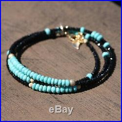 Black Spinel Sleeping Beauty Turquoise Necklace Wrap Bracelet 14K Gold Filled