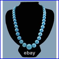 Blue Sleeping Beauty Turquoise 9.5-17mm Bead 20 Necklace in 14K White Gold Over