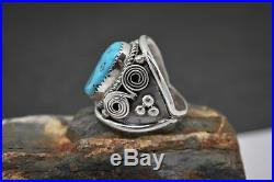 Bobbi Becenti Navajo Sterling Silver Ring with Sleeping Beauty Turquoise Size 12.5
