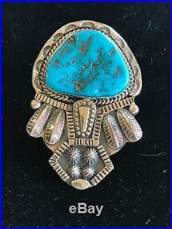 Bolo Tie Sterling Silver Sleeping Beauty Turquoise Leonard T. Chee